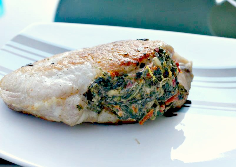Pork Chops Stuffed with Sun-dried Tomatoes & Spinach