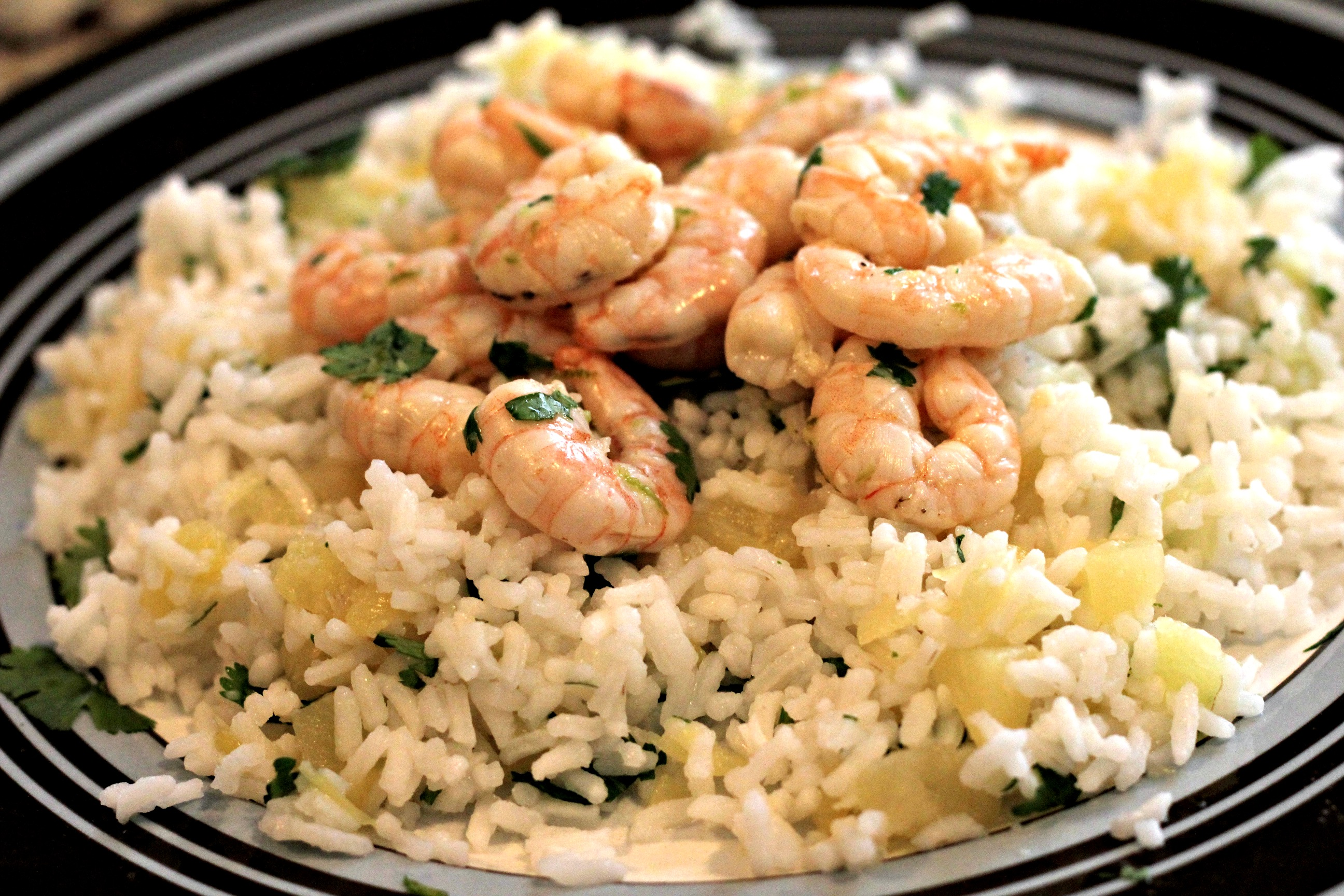 Cilantro Lime Shrimp on Hawaiian Rice