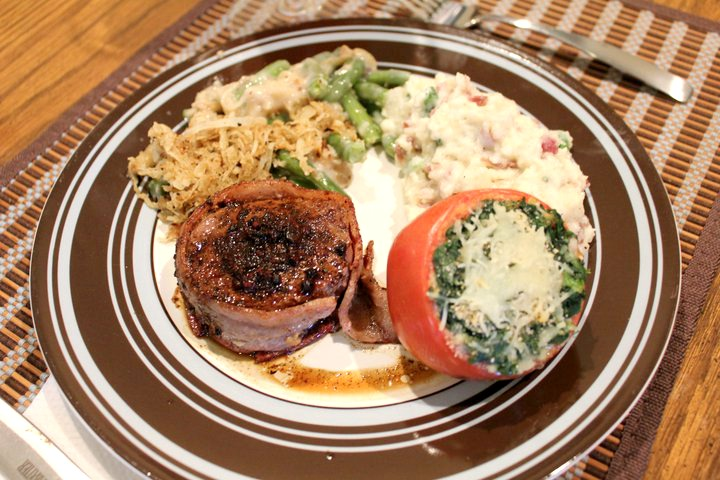 Pepper and Garlic Crusted Filet Mignon with Port Wine Sauce
