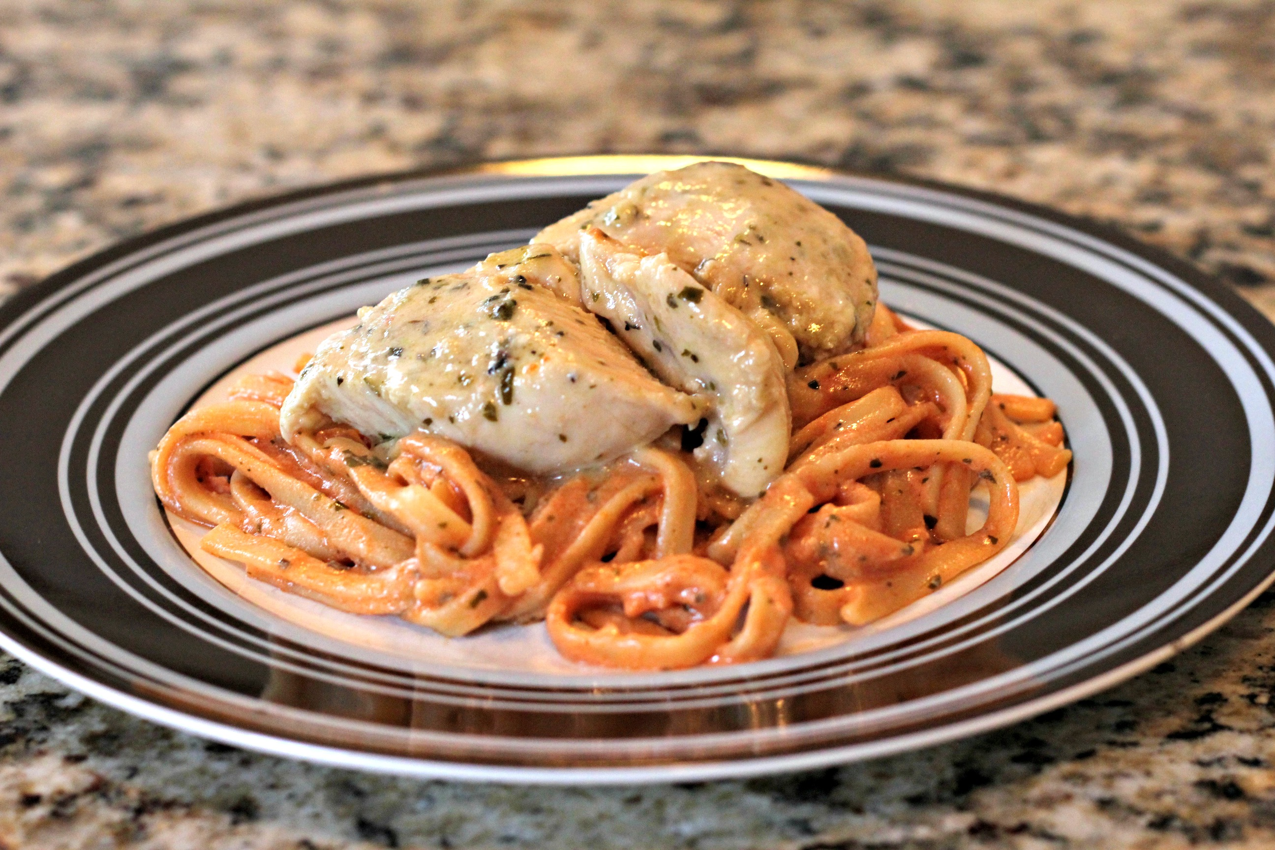 Pesto Chicken with Tomato Cream Pasta